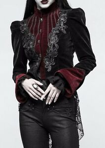 51deacb598e0 Punk Rave Black Red Victorian Velvet Puff Sleeve Jacket Gothic ...