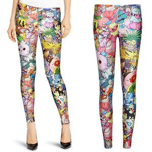 Fahion-Women-Funny-Monster-Collage-Skinny-Leggings-Slim-Pants-Stretch-Trouser
