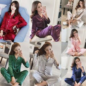 Women-Lady-Silk-Satin-Pajamas-Set-Pyjama-Sleepwear-Nightwear-Loungewear-Homewear
