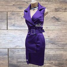 Karen Millen Purple Military Safari Trench Shirt Style Pencil Dress 12 UK/ EU 42