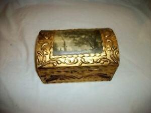 Italian-Florentine-Gilt-Gesso-Wood-Dome-Box-Forest-Scene-Regency-Vintage