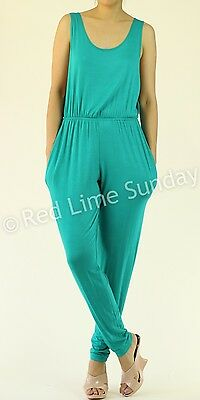 Lightweight Solid Color Casual Keyhole Open Back Waist Band Romper Jumpsuit USA