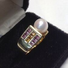 Modern 14k Pearl Pink Tourmaline Golden Tourmaline Unique Ladies Ring (J310)