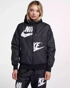 4973e2fd28d8 Details about NEW Sz SM Women s Nike Sportswear Windrunner Jacket Black  White AJ2974-010  110