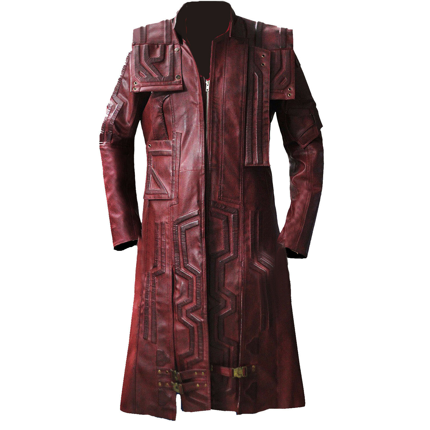 STAR LORD GUARDIAN OF GALAXY LONG TRENCH REAL LEATHER COAT CHRIS PRATT COSTUME