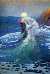 HOWARD-PYLE-The-Mermaid-Fine-Art-Giclee-Canvas-Print