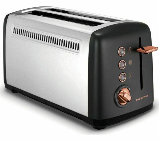 Morphy Richards Rose Gold Collection 4 Slice Toaster Black 2 Long Slot 245036