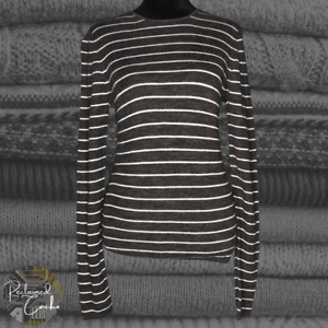 Vince Womens Gray Wool Striped Rib Knit Long Sleeve Pullover Sweater Top Size M