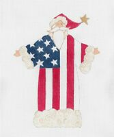 Needlepoint Handpainted Curtis Boehringer Christmas American Flag Santa 7.5 X 10