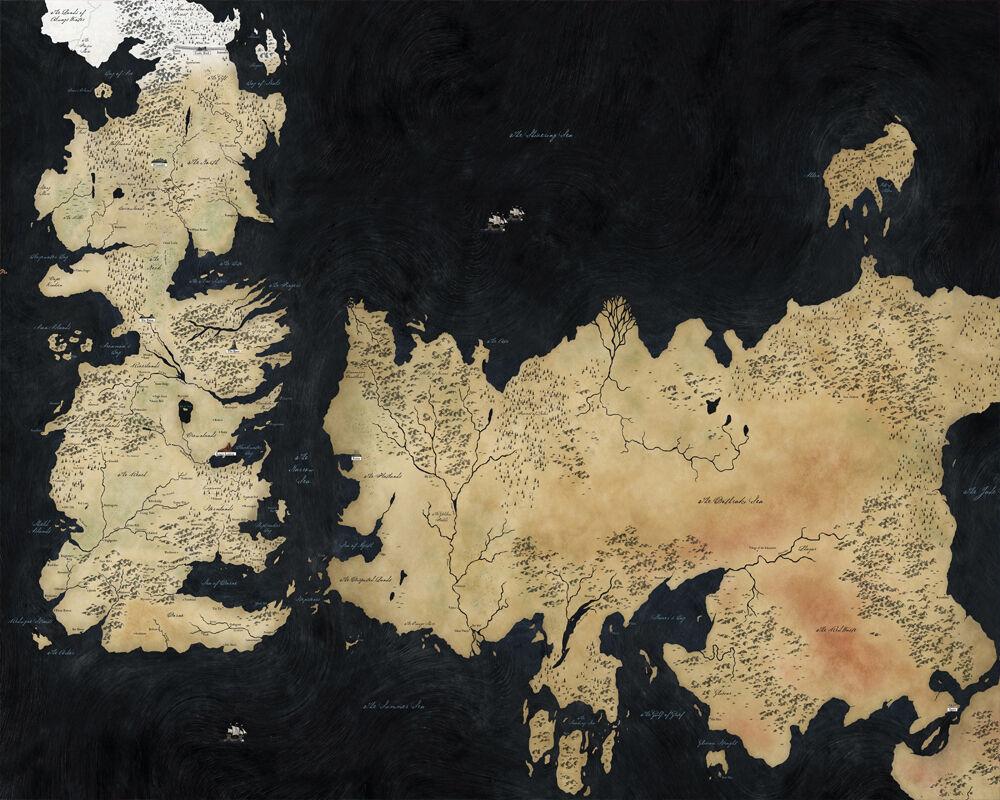 פוסטר מפה וינטג' ברקע שחור