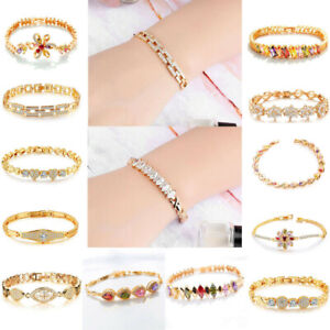 Women-18K-Gold-Plated-Cute-Flower-Bracelet-Bangle-Chain-Cuff-Wristband-Jewelry