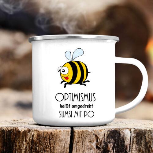 "Campingbecher /""Biene Optimismus/"" CB249 Sumsi bee Tier Insekt Spruch lustig"
