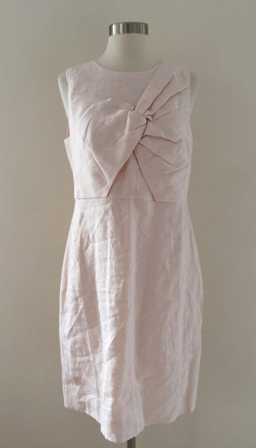 NEW JCrew  158 Drape Knot Dress in Irish Linen Size 8 Dusty Pink G4448