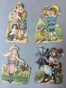 4 Antique Original 2-in Victorian Die Cut Scrap Child Vignettes