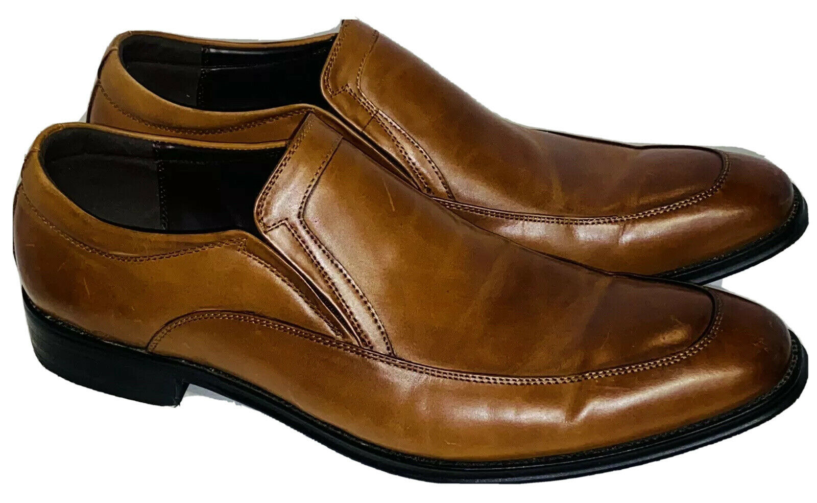 """Kenneth Cole Loafers Men's 11 M """"Put This On"""" Tan Leather 05/2015 Silver Tech"""