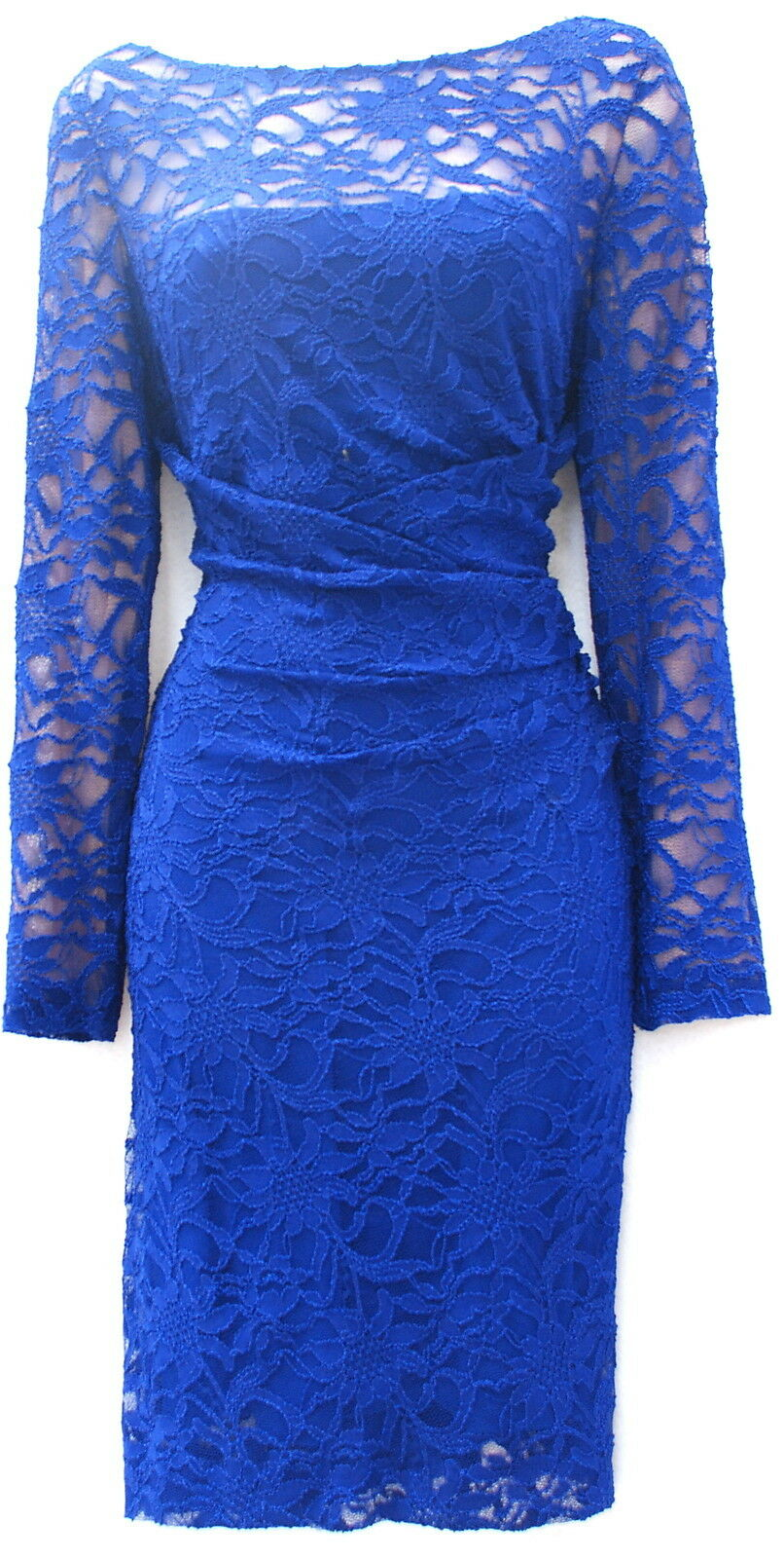 Ralph Lauren lace bluee stretch elegant evening or day occasion event party 16P