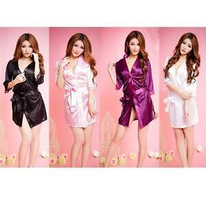 Mujeres-sexy-de-encaje-satinado-seda-suave-camison-Lenceria-Camison-pijama-bata