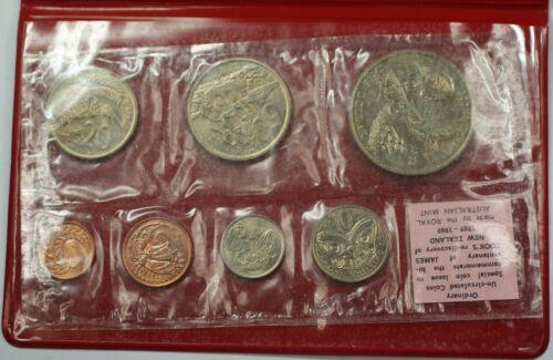 1969 New Zealand Uncirculated Coin Set In Original Case James Cook Commemorative
