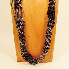 """37"""" Long MultiStrand Handmade Black Silver Seed Bead Woven Statement Necklace"""