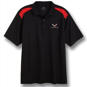 C7-Corvette-Black-Red-Color-Block-Polyester-Polo-Shirt