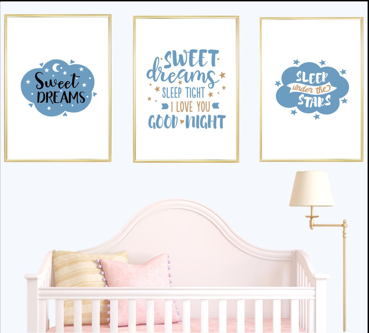 Cotizaciones de Impresión Pared Arte Impresiones de vivero Set Bebé Niño Azul Cartel Decoración Para El Hogar
