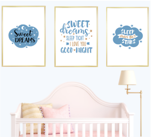 Details About Nursery Quotes Print Wall Art Prints Set Baby Boy Blue Room Home Decor Poster