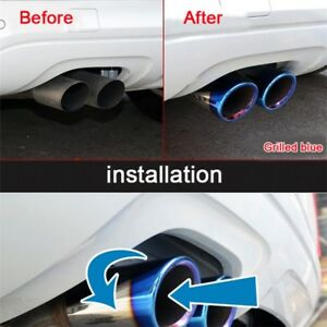 2-75mm-Blue-Stainless-Steel-Exhaust-Tail-Muffler-Tip-Pipe-for-Audi-A4-B8-Q5