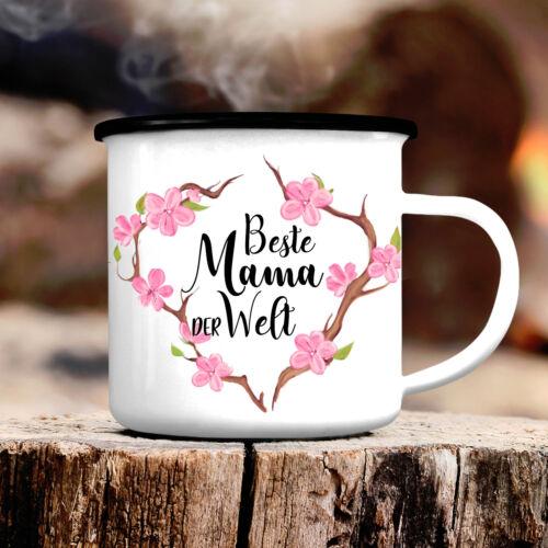 Campingbecher Beste Mama der Welt Emaille Tasse CB391 Muttertag Geschenk Blumen