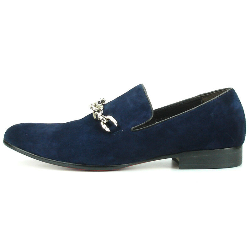FI-7191 Navy Suede Fiesso by by by Aurelio Garcia with Silver Chain Slip on Loafer ef5cba