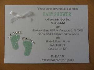 Captivating Image Is Loading 15 X Personalised Handmade Baby Shower Invitations A6