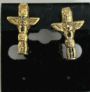 Vintage Native American  Figural Totem Pole Screw-On Earrings Japan