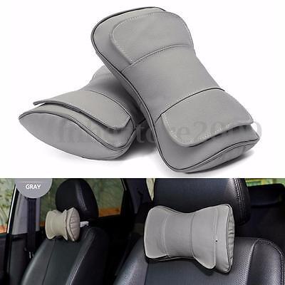 2pcs Genuine Leather Auto Car Seat Neck Rest Cushion Headrest Pillow Mat Gray