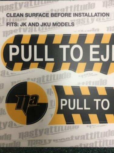 Pull To Eject Decal Sticker kit for Jeep Wrangler JK and JKU