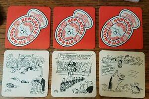 Vintage Newcastle Brown Ale Beer Mats X 6 (2 each of 3 designs) S&N Tyne Brewery