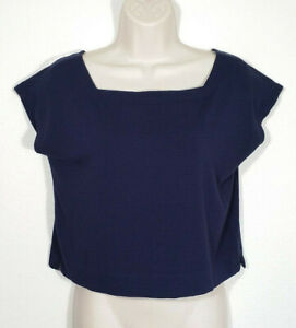 Eileen-Fisher-Women-Extra-Small-Blue-Crop-Top-Blouse-Viscose-Stretch-Square-Neck