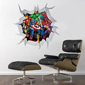 Image is loading COMIC-MARVEL-HEROES-WALL-CRACK-ART-DECOR-STICKER- & COMIC MARVEL HEROES WALL CRACK ART DECOR STICKER Decal Mural boys ...
