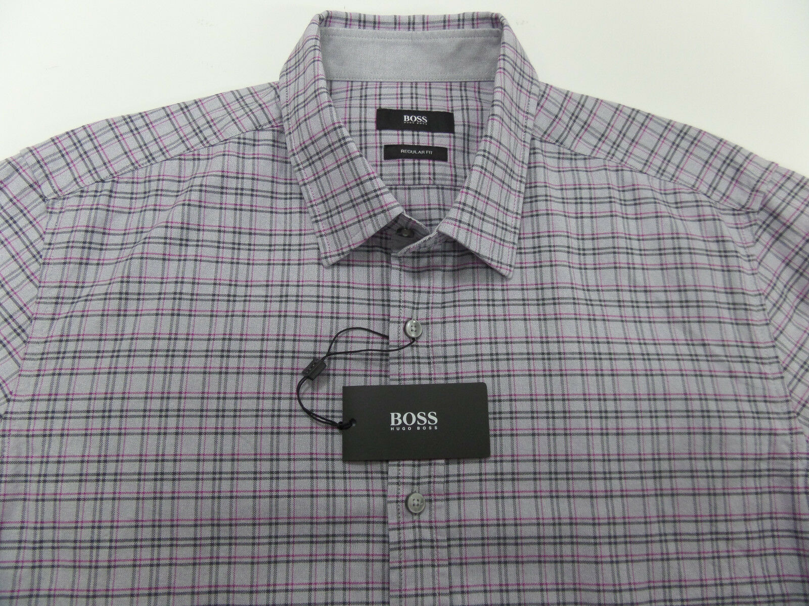 31e59b6f6 Boss Hugo Boss Men's Regular Fit Lukas Plaid Long Sleeve Dress Shirt Large