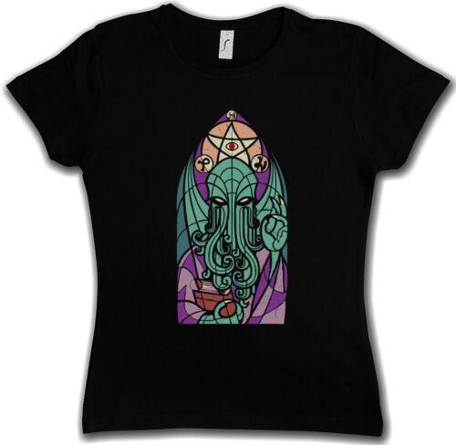 CHURCH OF CTHULHU DAMEN T-SHIRT Miskatonic Lovecraft Arkham Dunwich Kathedrale