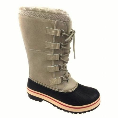 Ozark Trail Women's IVORY Tone Tall Leather Suede Winter Boots Size 9 New RARE