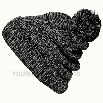 Baggy Knit Beanie Men's Women's Warm Winter Hat Ski Pom Pom Fashion Ski Cap New