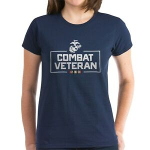 CafePress-USMC-Combat-Veteran-Women-039-s-Dark-T-Shirt-Womens-T-Shirt-129740574
