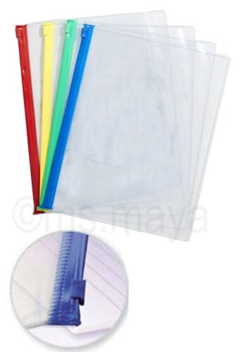 A4 Zip Seal Wallets Clear Transparent Bags  Waterproof //Clip Bord//Punched Pocket
