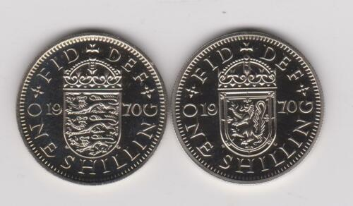 1 Shilling English Shield /& Scottish Shield ~ 2 Coins 1970 Proof England UK