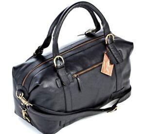 a51419515d Image is loading Genuine-Leather-Black-Premium-Duffle-Bag-Travel-Weekender-
