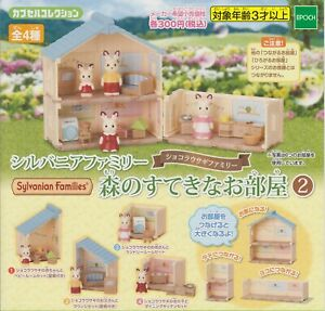 Sylvanian Families Gashapon Lovely Rooms In the Forest Part 2 Complete Set (4)