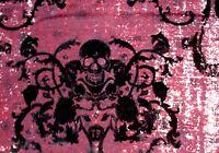 Black Felt Skull Damask 2w Stretch Red Burgundy Maroon Twill Fabric By The Yard