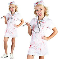Childrens Kids Mad Nurse Fancy Dress Costume Girls Childs Halloween Outfit M