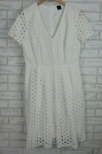 David-Lawrence-V-Neck-Dress-White-Laser-Cutouts-Sz-12