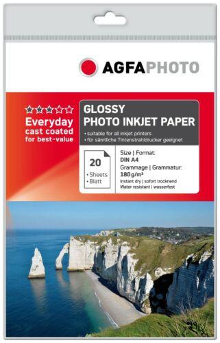 40 Blatt A4 180g Agfa Photo Foto Glanzpapier Glossy Fotopapier f Inkjet Tinte