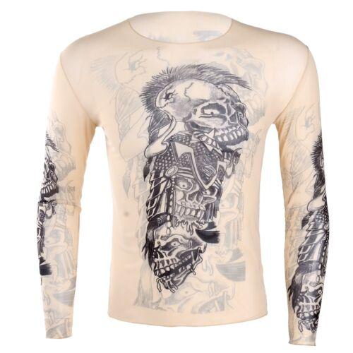Men/'s Fake 3D Tattoo Elastic T-Shirt Party Skull Shirt Tank Tops Blouse Costume